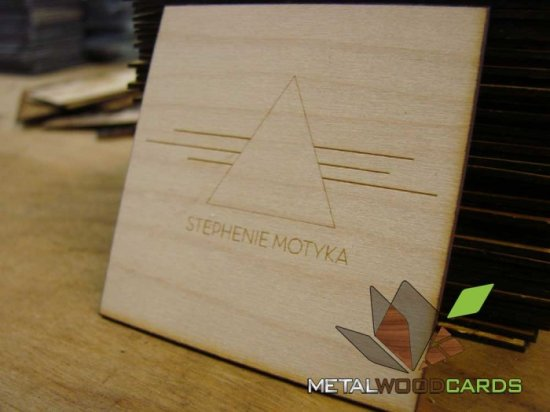 Square Wood Business Cards