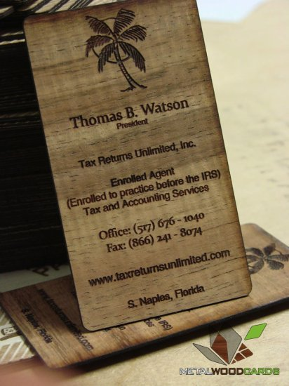 Laser Engraved Wood Business Cards Double Sided