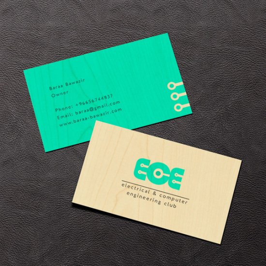 Electrical Company Wood Business Card