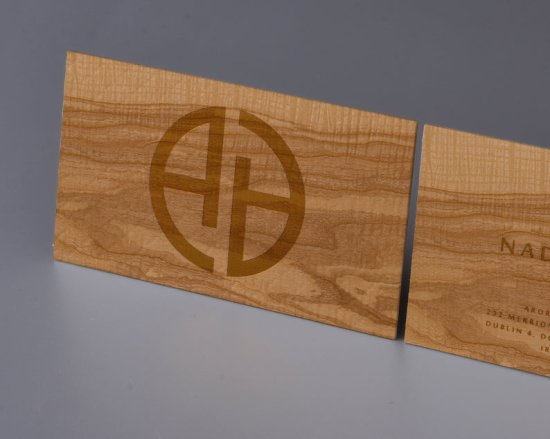 Gold Print Ash Wood Business Cards