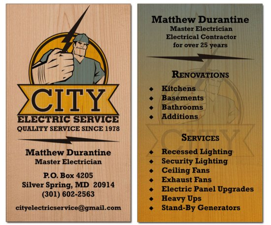City Electrical Wood Business Cards