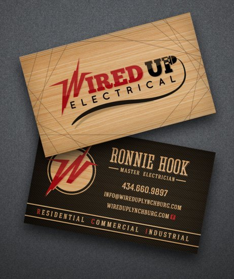 Wired Up electrical Business Cards Wood
