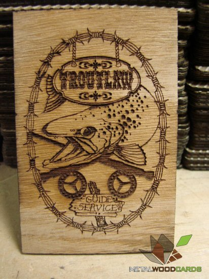 Guide Service Laser Engraved Wood Business Cards