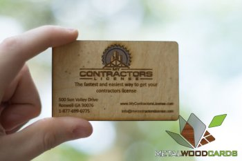 Contractor Business Cards Metal And Wood