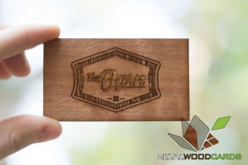 Rustic Wood Business Cards Engraved Multi Tone