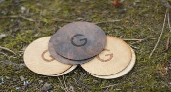 Round Shape Engraved Wood Business Cards