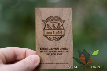 Walnut Engraved Wood Business Cards