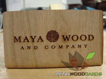 Laser Engraved Cherry Wood Business Card