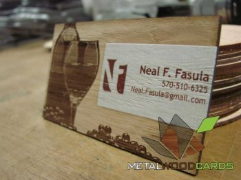 White Printed Wood Business Cards