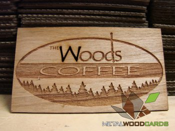 Woods Coffee Engraved Wood Business Card