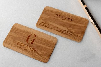 Spa Service Business Card of Wood