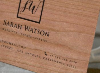 Events Organiser Business Card of Wood