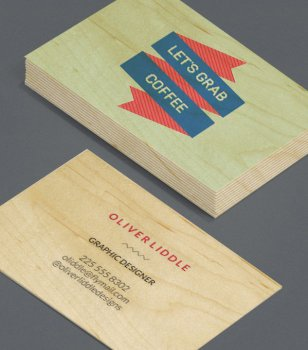 Graphic Designer Coffee Wood Business Cards