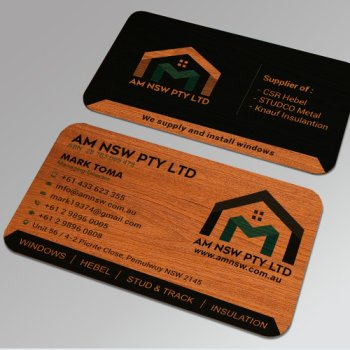 Contractor Business Cards Wood