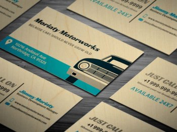 Automotive Car Business Wood Cards