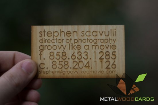Engraved Bamboo Wood Business Cards