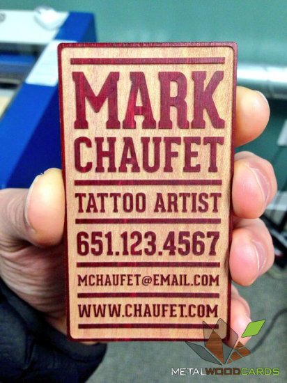 Tattoo Artist Business Card of Wood