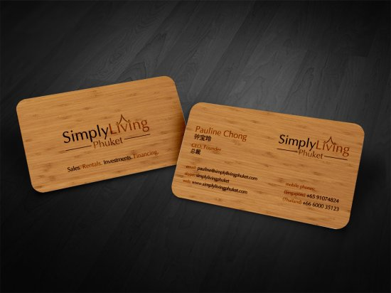 Simple Living Wood Business Card