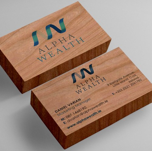 Wealth Management Wood Printed Cards